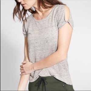 Athleta Zephyr Gray Linen T-Shirt Cold Shoulder M
